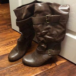 Brown heeled boots women's 11